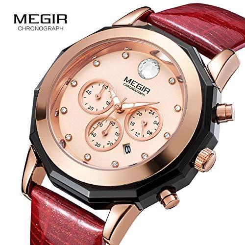 SIMPLISIM: Montre de Luxe Femme Chronographe Megir Bracelet Cuir Quartz Chronographe et Affichage de la Date * Idée Cadeau