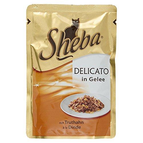 Sheba Delicato Katzenfutter Saftige Streifen mit Truthahn in Gelee, 85g