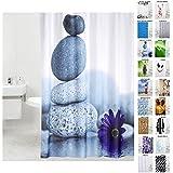 Cortina de ducha | Diversos de detalle de cortinas de ducha | Resistente al agua | Anti-Mould | Con 12 anillas para barra de (180 x 180 cm, diseño de piedras energéticas)