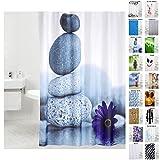Duschvorhang, viele schöne Duschvorhänge zur Auswahl, hochwertige Qualität, inkl. 12 Ringe, wasserdicht, Anti-Schimmel-Effekt (Energy Stones, 180 x 200 cm)