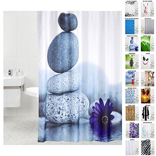 Duschvorhang, viele schöne Duschvorhänge zur Auswahl, hochwertige Qualität, inkl. 12 Ringe, wasserdicht, Anti-Schimmel-Effekt (Energy Stones, 180 x 180 cm)