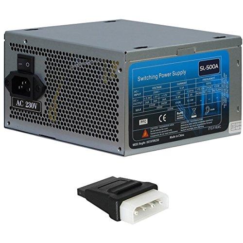 500 Watt Netzteil ATX Super Silent 120mm Lüfter 19 - 25 db PC-Netzteil 4x S-ata inkl. Adapter Molex auf S-ATA (350 Netzteil Watt)