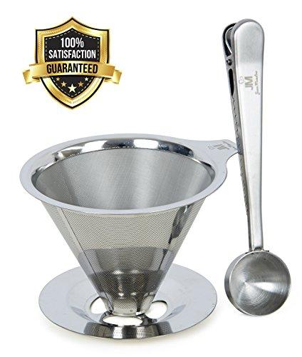 Aufguss Kaffee-Filter – Genießen Sie einen Kaffee in Barista-Qualität; bequem von Zuhause – KOSTENLOSER EDELSTAHL-PORTIONIERER & BEUTEL CLIP - wiederverwendbar & umweltfreundlich – Aufguss-Kaffee-Bereiter von Java Maestro – mit Geld-zurück-Garantie 5 Cup Drip Coffee Maker