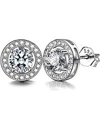 Lydreewam Women's Stud Earrings in 925 Sterling Silver with 3A 6 mm Cubic Zirconia
