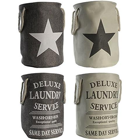 Deluxe Ropa Sucia Maritim Laundry Star–Cesta plegable para ropa–60litros capacidad–Aspecto De Lino con cordón girffen–Vintage Texto o estrella–Cesto typ344, poliéster, Stern grau, HxB 54x38 cm