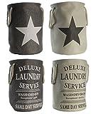 fashion and joy Deluxe Wäschesack MARITIM Laundry Star in natur beige - Wäschekorb faltbar - 60 liter Fassung - Leinenoptik mit Kordelgirffen - Vintage Stern - Wäschesammler Typ344