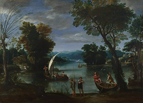 Das Museum Outlet-Giovanni Battista Viola-Landschaft mit Fluss und Boote-Leinwandbild Print Online kaufen (101,6x 127cm)