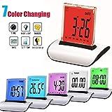 HaiQianXin Reloj Despertador Digital de 7 Colores Cambio de Color LCD Reloj de Escritorio Termómetro Temporizador Cama Luz
