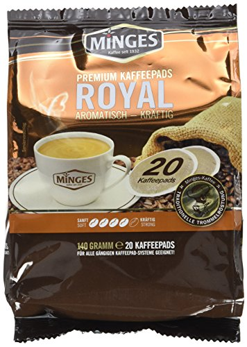 Minges Röstkaffee Royal, 20 Kaffeepads, Aroma-Softpack, 140 g, 12er Pack (12x 140 g)