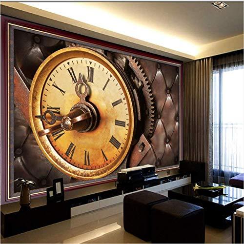 Zybnb carta da parati 3d foto retro orologio murale ktv bar soggiorno camera da letto coffee shop casa del tè divano carta da parati murale