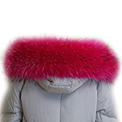 MAGIMODAC Luxurious Faux Fur Collar Hood Full Fake Fur Trim Wrap Scarf for Winter Coat Jacket Parka (70cm/27.55'', Coral Red)