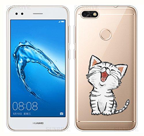 Für Huawei Y6 Pro 2017 Hülle Silikon,Sunrive Transparent Handyhülle Schutzhülle Etui Case Backcover für Huawei Y6 Pro 2017 / P9 Lite Mini(tpu Katze 2)+Gratis Universal Eingabestift
