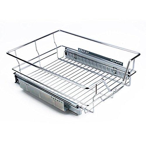 , Organizer, stapelbar unter dem Waschbecken Schrank Organizer mit Schiebetür Korb Schublade für Küche und Badezimmer-Chrom 600mm/20.3