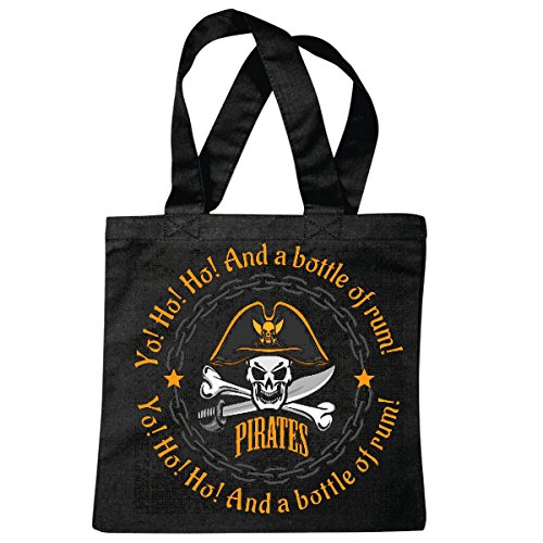 Tasche Umhängetasche and A Bottle of Rum Pirat Piraten SEERÄUBER Skull Totenkopf SCHÄDEL Skelett Einkaufstasche Schulbeutel Turnbeutel in Schwarz -