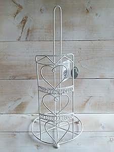 Porte essuie-tout en métal blanc en forme de cœur, style shabby campagnard vintage küchenpapierhalter