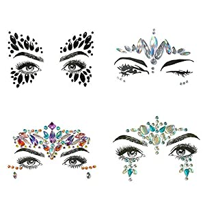 Festival Face Gems Jewels Sticker,Fukalu 4 Pcs Eye Decorations Glitter Rhinestone Temporary Tattoo Eyes Forehead Body Jewel Stickers Self Adhesive Face Gems for Festival Christmas Party (Collection 2)