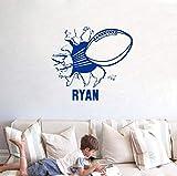 Adesivi football americano, calcio con nome vinile Adesivo Sticker per ragazzi Room Decor 50X50Cm, B