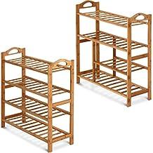 Miadomodo - Estantería zapatero de madera bambú 4 niveles – con compartimiento para guardar botas