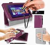 Acer W3-810 Tablet Case / Tablet Case / Schutzhülle in LILA mit integrierter Standfunktion ( PropUp Stand ) & Handschlaufe ( Hand Strap ) von G-HUB® - PropUp Stand Hülle / Fall / Tasche / Folio für Acer W3810 ( Alle 8,1 Zoll Modelleeinschließlich: 32GB / 64GB / 3G / LTE / BlueTooth / WiFi / 2013 modèle , etc. ) Jetzt mit BONUS: G-HUB ProPen Stylus