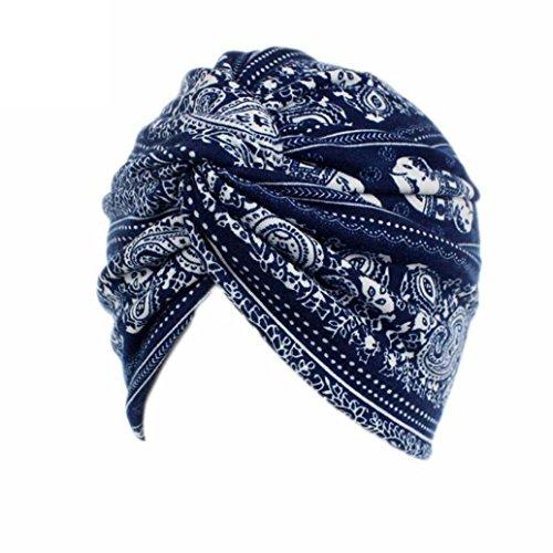 Ouneed Turban Chimio Femme Bonnet Musulmanes Coton Wrap Hijib Cap a Motifs (F)