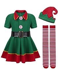d21af4229770d YiZYiF Enfant Garçon Fille Noël Déguisement Lutin Ensemble Robe Soirée  Princesse et Chaussette et Bonnet Noël