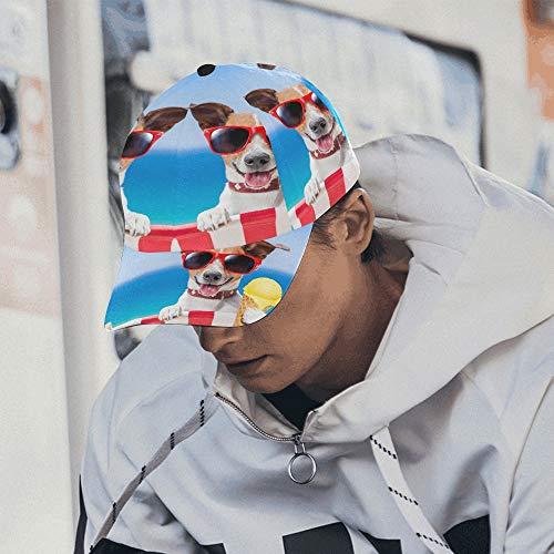 Ausgefallene Baseballmützen Süßer Hund isst kaltes EIS Baseball Mom Hut Baumwolle Weiche Passform Unisex Hip-Hop Sport Sommer Strandaktivitäten Einzigartige Mützen für Frauen -