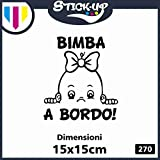Adesivo sticker BABY IN CAR - BIMBa A BORDO! - BABY ON BOARD - dimensioni 15x15 cm - adesivo tuning lunotto auto moto custom decal BIMBO BIMBA A BORDO (nero)