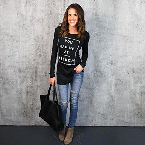 Femmes Blouse Coton, Transer ® Vêtements Fashion femmes manches longues lettre chemisier imprimé T Shirt Noir