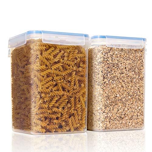 Vtopmart 5,2 L x 2/176 oz Contenedores de cereales para almacenamiento, plástico sin BPA contenedores de almacenamiento de despensa de cocina, con 24 etiquetas y marcador, para cereales, harina, etc.