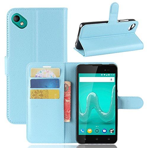 Kihying Hülle für Wiko Sunny 2 Plus Hülle Schutzhülle PU Leder Flip Wallet Fashion Geschäft HandyHülle (Blau - JFC07)