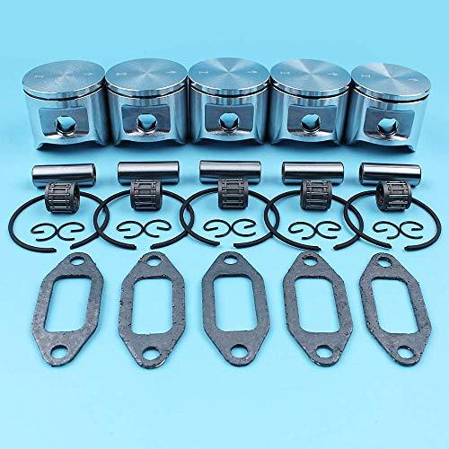 AiCheaX Strumenti 5 x (48mm) Kit di guarnizioni per silenziatore con Cuscinetto ad Aghi per pistone per Motosega Speciale...