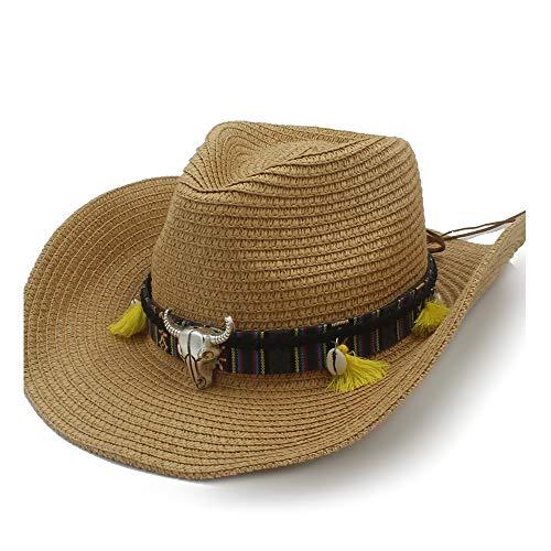 XXY Kappe Sommer Sonnenhut Raffia Hut Cowboy Hut Damen Sonnencreme Ledergürtel Atmungsaktive Kopf Shell Strohhut Panamahut Männer beiläufig (Farbe : Kaffee, Größe : 58 cm) (Stroh-cowboy-hut Für Kinder Bulk)