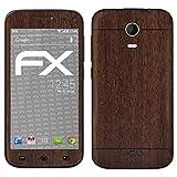 atFolix Skin kompatibel mit Wiko Darkmoon, Designfolie Sticker (FX-Wood-Teak), Holz-Struktur/Holz-Folie