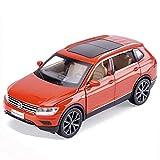 DUWEN Modellauto Volkswagen Tiguan Automodell 1:32 Emulation Legierung Automodell Dekoration Druckguss Modell Junge Geschenk (Farbe : Orange)