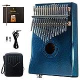 Moozica 17 tasti in mogano tono legno EQ pickup Kalimba, Electric finger piano integrato hi-fi con interfaccia audio da 6.35 mm (dunkelgrün)
