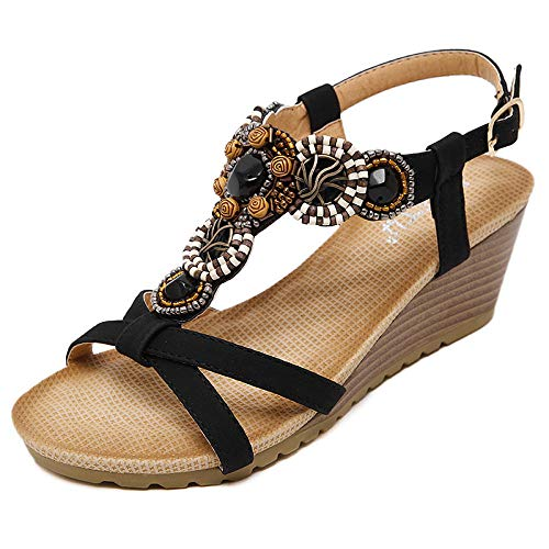 Sandali da Donna Tacchi Alti National Bohemian Confortevole Economico con Perline Buckle Wedge@Black_37