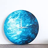 HYSENM Erde leuchtende ruhige nicht-tickende lautlose Wanduhr im Dunkel leuchtend geeignet für Kinderzimmer Schlafzimmer aus Acryl, Durchmesser 30cm Blau