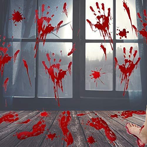Aufkleber für Halloween, Vampir, Zombie-Party-Dekoration, Bloody Footprints, 46 Stück