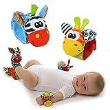 Dosige Calcetines Muñequera para bebé,Sonajeros incorporados,Juguetes sensoriales,0-6 Meses,Tela Material Pruebas de seguridadCE