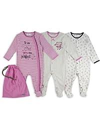 The Essential One - Baby Mädchen Schlafanzuge/Schlafanzug/langarmeliger Body/ Strampler (3-er Pack mit Beutel) – Weiß / Rosa - ESS188