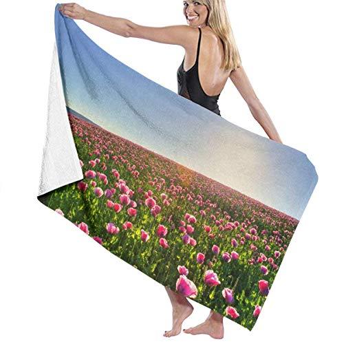 FSTGFQW Übergroße Strandtücher, Damen-Badetuch - Schönes rosa Blumenfeld HD Reise Waffel Spa Strandtuch Wrap für Mädchen -