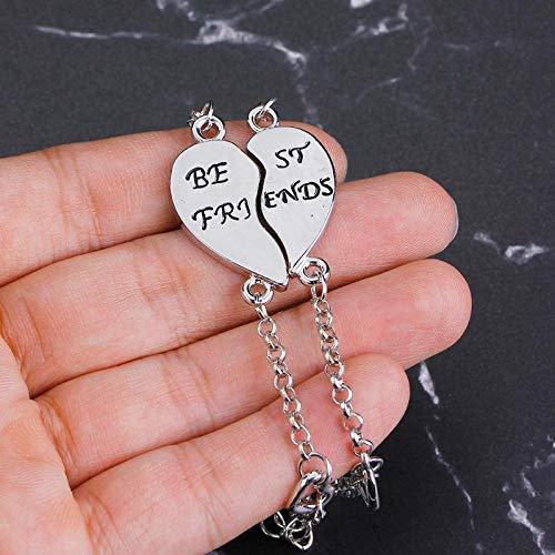 Imagen de strass & paillettes pulsera doble de best friend corazón de plata separado en dos para su mejor amiga en una caja de regalo alternativa