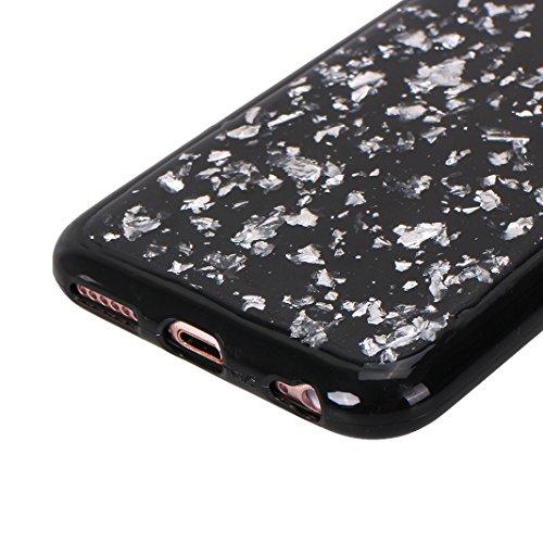 iPhone 6 Plus/6S Plus Schale Glitter Case, iPhone 6 Plus Glitter Case, iPhone 6S Plus Glitter Case, Moon mood® Ultra Slim Thin 3D Bling Strass Hülle Gliter Handytasche Kristall Schutzhülle für Apple i Silber