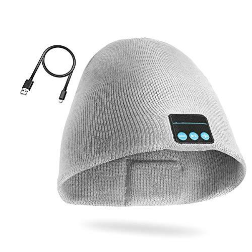 Bluetooth Mütze Hut Kopfhörer Winter Waschbar Hut Knit Cap Wireless Lautsprecher Eingebautes Mic Weihnachtsgeschenke für Männer Frauen Teen Girl PJYU … (Hellgrau)