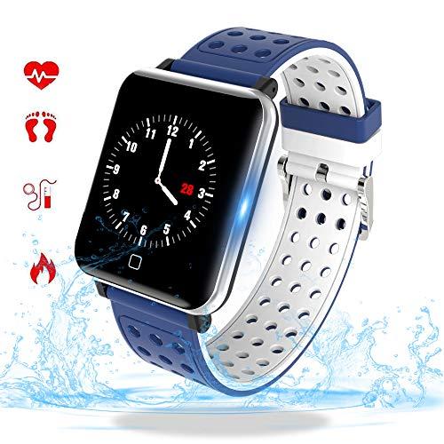 Smartwatch, Fitness Armband Wasserdicht IP68 Sport Uhr mit Blutdruckmessung, Pulsuhren, Schrittzähler, Kalorienzähler, 1.3 \'\'Color Screen Bluetooth Smart Watch für Damen Herren Aktivitäts Tracker