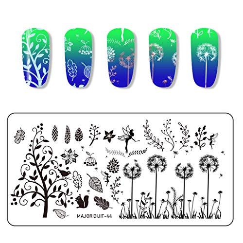 VANMO Splice Image Plate Nail Art,Einfarbig Blumen Tiere Insekten Blätter Pflanzen Katzen und Hunde Splice Image Nagelaufkleber,Maniküre Schablonen Set(Mehrfarbig) (Papier Blume Puffs)