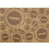 Kraftpapier Gourmet, einseitig glatt braunes Einschlagpapier für Burger, Wrap, HotDog, Brote, Baguette, belegte Brötchen, Backwaren, Snacks etc. mit Motivdruck Gourmet schwarz-weiß, 50 Blatt