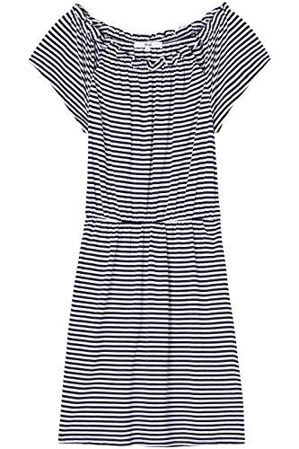 FIND Damen Midikleid mit Schulter-Cutouts Blau (Navy/white Striped)