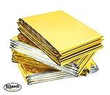 URBAN MEDICAL Premium Rettungsdecke Rettungsfolie für Erste Hilfe | 10 Stück | Gold/Silber | 210 x 160 cm |Wasserdichte Notfalldecke | Kälteschutz | Hitzeschutz | Autozubehör |