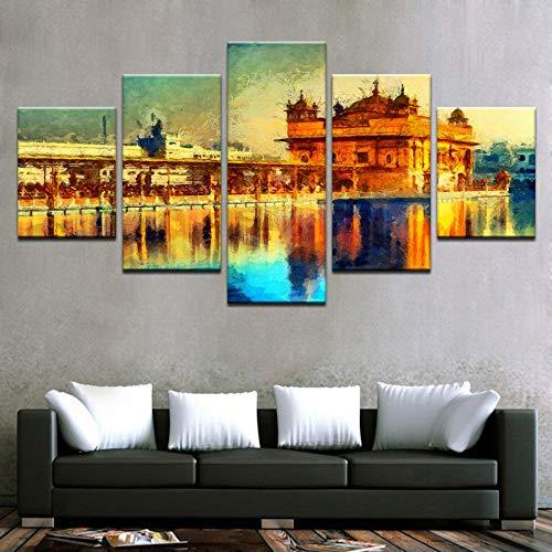 lsweia HD Drucke Poster Wandkunst Rahmen 5 Stücke Goldenen Tempel Landschaft Abstrakte Bilder Leinwand Malerei Wohnzimmer Dekorative